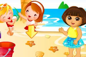 朵拉海边玩耍图片
